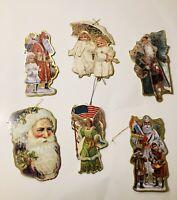 Set of 6 Vintage Gold Foil Victorian Diecut Cardboard Christmas Ornaments