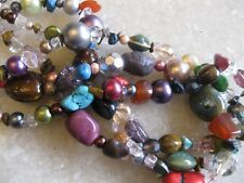 Colorful 3 Strand Choker Necklace Beads of Glass Crystal Ceramic, Natural Stone
