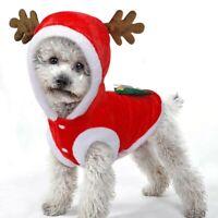 Santa dog Flannel clothes Hoodie Jacket Pet Clothes Christmas Coat Jumpsuit