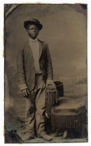 BLACK AFRICAN AMERICAN YOUTH PEARLTYPE TINTYPE PHOTO MINNIS GALLERY VIRGINIA