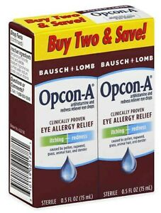 2 Pack Bausch & Lomb Opcon-A Sterile Redness Reliever Eye Drops 0.5 Fl. Oz.