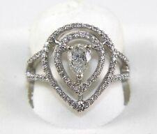 Fine Pear Cut Diamond Solitaire Fashion Ring w/Accents 18k White Gold .91Ct