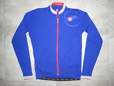 Castelli Blue Red Full Zip Cycling Biking Sport Jersey Shirt Size MEDIUM M USED