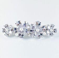BARRETTE use Swarovski Crystal Hair Clip Hairpin Flower Elegant Silver Pearl 6