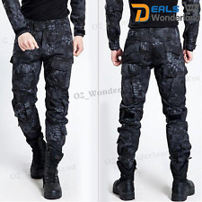 Hot Mens Military Trousers Camo Combat Army Cargo Work Outdoor Long Pocket Pants Black 32