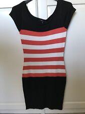 Kleid MORGAN Neu M Schwarz Mit Weiss Roten Streifen