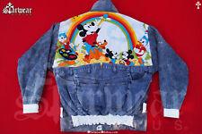 VTG Mickey Mouse Disney DAVID HASSELHOFF Dapper Dan Hip Hop Leather Denim Jacket