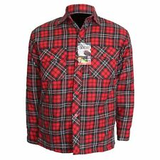 Mens Thick Lumberjack Check Button Padded Quilted Lined Warm Shirt Jacket M-6XL