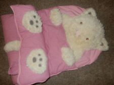 Ln 71x29 Pottery Barn Kids Plush Kitty Cat Kitten Pink Gingham Sleeping Bag