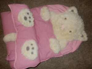 LN 71x29 Pottery Barn Kids Plush Kitty Cat Kitten Pink Gingham Sleeping Bag