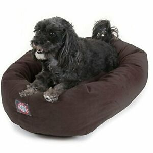 24 inch Chocolate Suede Bagel Dog Bed By Majestic Pet Products