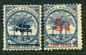 SAMOA....  1893  5d on 4d  x2 different   mint