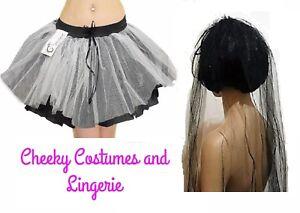 Corpse Bride Tutu Veil Halloween Items Black white Grey Zombie Costume