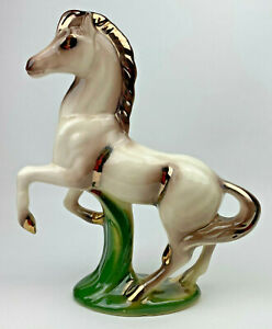 Mid Century Modern White Gold & Green Horse Figurine Calif USA Pottery
