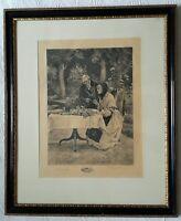 Walter Dendy Sadler & James Dobie Signed - Tea in the Garden Etching Framed
