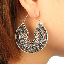 Big Hoop Earrings Ethnic Tribal Carved Hippie Boho Dangle Indian Silver Round UK