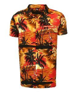 WOMENS LADEIS HAWAIIAN LOUD BEACH ALOHA HEN PARTY FANCY SHIRT RED BEACH PALM