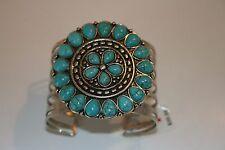 Silver Tone faux Turquoise Mandala Cuff Bracelet
