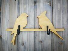 Handmade wooden wall mount coat rack Birds with 2 hooks in 1 of 6 Colors
