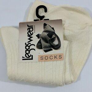 VTG 1996 Leggswear Trouser Socks 100% Nylon Ivory Womens One Size New with tags!