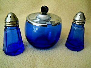Vintage Cobalt Blue Glass Salt & Pepper Shakers & Sugar Bowl