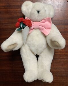 White Vermont Teddy Bear Blue Eyes Pink Bow Red Roses