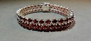 "Estate 925 Sterling Silver 3-Row Oval Prong-Set Garnet Tennis Bracelet 7.5"" long"