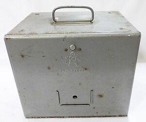Vtg Brumberger 8 mm metal reel holder case storage bin 1950 mid century