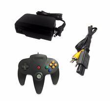 AC Adapter + Black Controller + AV Cable Cord Bundle for Nintendo 64 N64