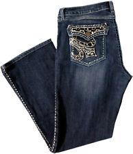 Wrangler Rock 47 Ultra Low Rise Embellished Pocket Blue Jeans, Size 34x27
