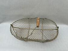 Ancien panier à noix ou cueillette champignon métal art paysan  french antique