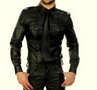 New Men's Genuine Real Black Sheep Leather Police Uniform Shirt  Full Sleeves