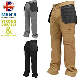 Mens Workwear Trousers Workwear Black Grey Khaki Heavy duty Cargo Working Pants