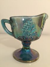 Blue Carnival Glass Harvest Grape Footed Creamer Pitcher