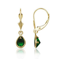 Emerald Birthstone Pear Bezel Drop Dangle Leverback Earrings 14K Yellow Gold