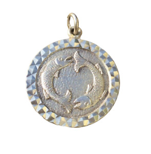 Vintage Sterling Silver Pisces Fish Zodiac /Star Sign Pendant. 1970s.