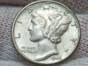 1944 D Silver Mercury Dime GEM BU Uncirculated and free shipping