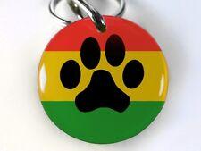 Rasta Paw Print red yellow green round cute dog cat custom pet tag by ID4PET