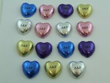 Personalised Initial Swiss Milk Chocolate Hearts Wedding Favour, Choose colours