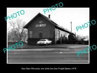 OLD LARGE HISTORIC PHOTO OF EAU CLAIRE WISCONSIN, SOO LINE RAILROAD DEPOT c1970