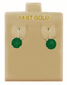 GENUINE 2.24 Ct EMERALDS DANGLING EARRINGS 14K WHITE GOLD * Free Certificate *