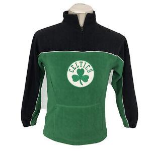 BOYS Adidas 1/4 Zip Fleece Pullover Sweater Sweatshirt Medium 10-12 NBA Green M