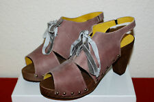SANITA UK 8 EU 42 PEEP TOE HIGH HEEL PLATFORM SLINGBACK LEATHER CLOG SANDALS