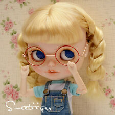 "【Tii】 12"" Blythe/pullip outfit clothe glasses gold & red doll glasses fashion"