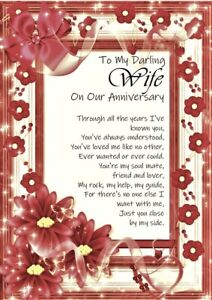 To My Darling Wife On Our Anniversary A5 Card - Love Wedding Anniversary