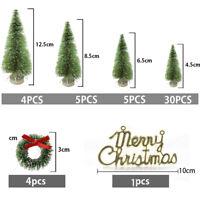 49PCS/Set Tabletop Christmas Pine Tree Xmas Mini Snow Tree Decoration 4.5-12.5cm