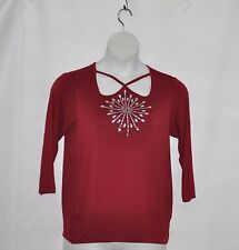 Bob Mackie 3/4 Sleeve Crossover Neck Top with Jewel Detail Size S Merlot