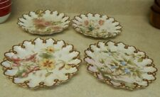 T&V Limoges France Hand Painted Floral Reticulated Plate set of 4