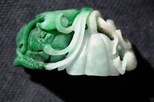 Jade010 Estate Burma natural white and Green Lotus, Snake & frog jadeite A jade