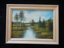 Cuadro al óleo con marco de madera, pintado a mano, paisaje (Mi Artículo N º 19)